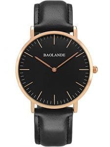 Alienwork Classic St.Mawes Montre quartz élégant quartz mode Design intemporel classique Cuir or rose noir U04814L-02