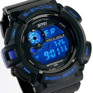 ALPS Multifonctionnel LED Digitale Montre Etanche Sport Homme (Bleu)