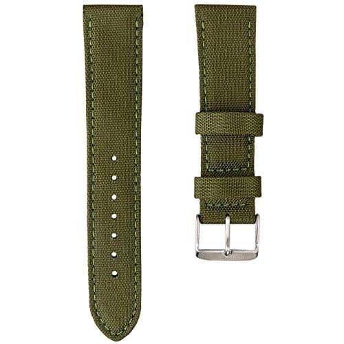 Bracelet de Montre Geckota® Sport Rembourré Résistant Nylon Toile Tissu, Vert Armée, 20mm
