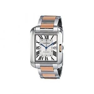 Cartier Homme Bracelet & Boitier Acier Inoxydable Doré Saphire Automatique Cadran Argent Montre W5310006
