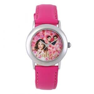 Disney – W002012 – Montre Violetta – Montre Fille – Quartz Analogique – Cadran Blanc – Bracelet Cuir Rose