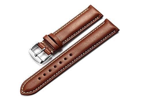 istrap 21mm Montre en cuir de veau véritable sangle rembourrée de montre argent boucle Super Doux Marron foncé