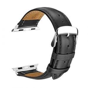 L'Apple Watch Bracelet, SOWTECH(TM) 42mm Montre Bracelet en Cuir Veritable Remplacement Bande en Mode Boucle avec Fermoir en Métal Ajustable pour l'Apple Watch Montre Tous les Modèles(42mm-Noir)