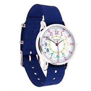 Montre pour enfants EasyRead Time Teacher à affichage « numérique » 12 et 24 heures, cadran aux couleurs de l'arc-en-ciel, bracelet bleu