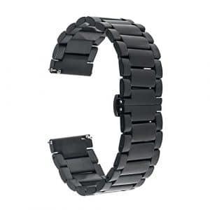 TRUMiRR 22mm Bracelet de Montre en Acier Inoxydable pour Samsung Gear 2 R380 R381 R382, Gear S3 Classic Frontier, Moto 360 2 46mm, Asus ZenWatch 1 2 Hommes, Pebble Time, LG Urbane W150