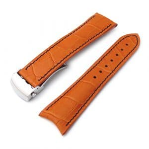 20 mm Crocograin Orange semi-bombée Lug Roller déployante Bracelet de montre, Bleu Coutures, P