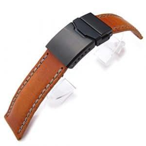 20mm Miltat Pull Up Cuir Orange Tan Bracelet de montre, Cire Beige Couture Main, PVD Fermoir