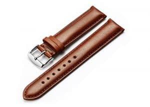 istrap 22mm Montre en cuir de veau véritable sangle rembourrée de montre argent boucle Super Doux Marron foncé