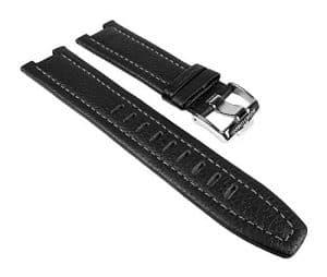 Jacques Lemans 1-1484-schw./weiß – Bracelet pour montre, Cuir, couleur: Noir et blanc