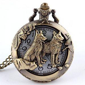 Rétro Quartz Montre de poche Collier Pendentif chaîne creux Loup Animal Bronze
