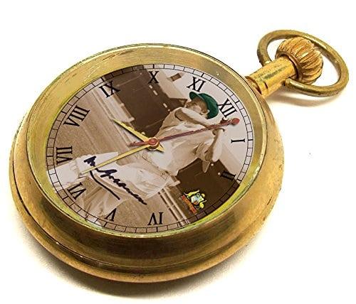 Sir Don Bradman Commémorative Montre de poche Vintage, sépia et vert Baggy, 17bijoux