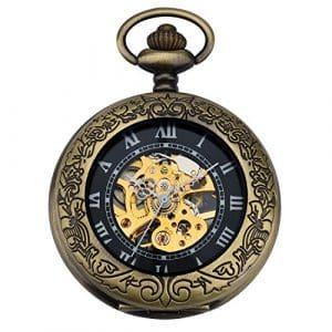 zeiger Montre Homme Steampunk Squelette Mécanique cuivre Gousset style rétro pendentif montre de poche w345