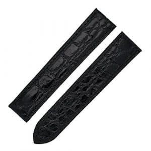 Cartier 18–16mm kd25de33Caiman bande Sangle en cuir pour Guitare Noir brillant