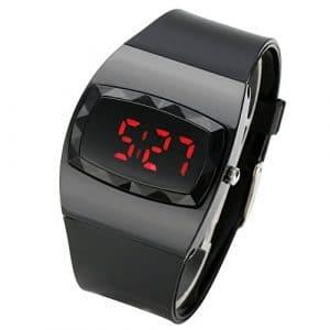 JSDDE Mode Digital Montre Carré Sport Unisexe Numerique LED Ecran Plastique Lisse Bracelet en Silicone Conduit Montre-Bracelet De Sport Watch Montre Sportive – Noir