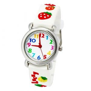 Montre Pédagogique pour Enfant Fille Quartz Cadran Blanc avec Bracelet Caoutchouc 3D Motif – Blanche Fraises
