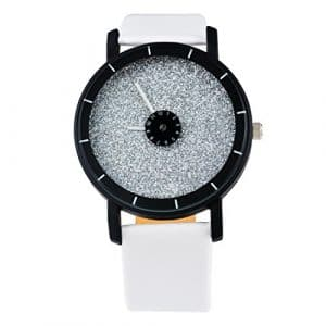 Souarts Montres Couples Unisex Montre à Quartz Cadran Mat Montres Bracelet en Pu Cuir Blanc 24.5cm