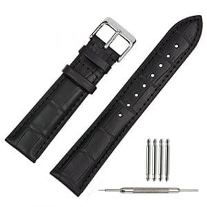 TStrap Bracelet Montre Cuir 21mm Noir Bande de Bracelet Montre Cuir Remplacement Boucle pour Montre Homme Femme