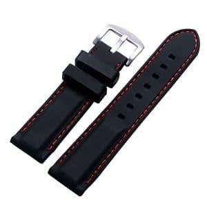 YISUYA Bracelet de montre en silicone étanche à l'eau avec boucle ardillon en acier inoxydable/surpiqûres rouges Noir 22mm