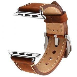 Apple Watch 38mm Bracelet, ZRO Vendange Cuir Véritable Remplacement Bande de Montre avec Fermoir Métallique Sécurisé Boucle pour Apple iWatch série 2/ série 1, Marron