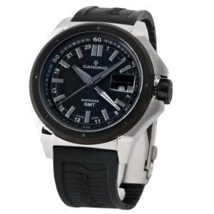 Candino – C4473/3 – Montre Homme – Quartz Analogique – Aiguilles Luminescentes/Double Fuseau Horaire – Bracelet Plastique Noir