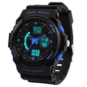 Dictac Montre de Sport Imperméable pour Natation, Montre-bracelet 50M étanche et anti-choc Watch pour Hommes, Femmes et enfants (L, Bleu)