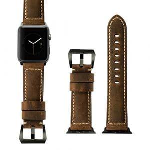 iStrap 24mm faite à la main ASSO Cuir rembourré Pre-v Tang Fermoir Sangle de bandes de montre pour Apple Watch 42mm Marron – marron –