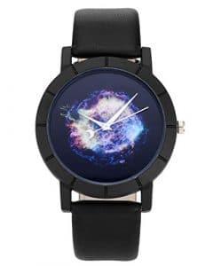 JSDDE montre quartz la voûte étoilée de la colorée le boitier de montre du noir le bracelet de montre en PU (la voûte étoilée N° 2)