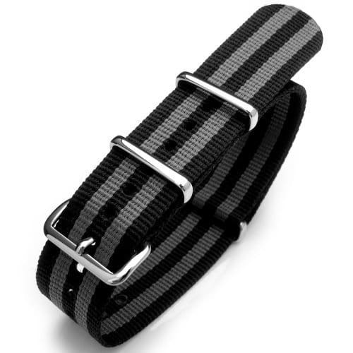 Montre 18mm NATO Band – Affichage bracelet Nylon Noir et Cadran NATO18-NyJBBlack-P(UK)