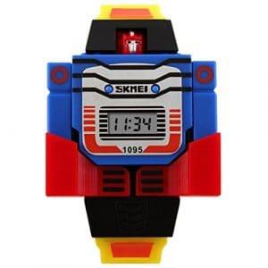 SKMEI – Montre Pour Enfant Garçon Fille – Montre digital Analogique – Bracelet en silicone – Sport Fashion – Monte en forme de Transformers et amovible – Jaune
