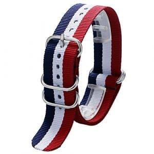 yisuya 20mm Nylon rayé bleu/blanc/rouge France Drapeau couleur Sangle de montre de bande
