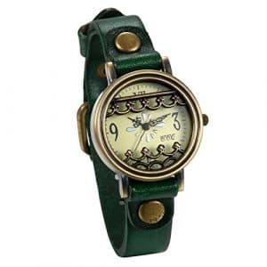 JewelryWe Montre Bracelet Femme Quartz Rétro Chiffre Cadran Fleur Ciselée Vintage Analogique Bracelet Cuir Alliage Couleur Vert