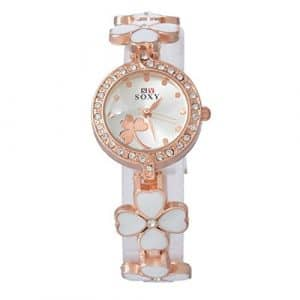 Souarts Femme Montre à Quartz Montre Bracelet Enamel Fleur Blanc 20cm 1PC