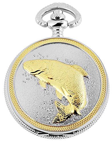 Tavo Lino Analogique Montre de poche avec chaîne en métal Motif poisson pêche à la carpe 480712000075bicolore Boîtier en Dimensions 47mm x 15mm avec couleur du cadran blanc et verre minéral