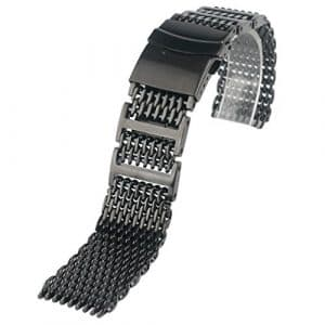 Yisuya Bracelet solide en acier inoxydable 316L H-link Shark Bracelet de montre en maille filet Band 20mm de largeur Noir