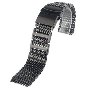 Yisuya Bracelet solide en acier inoxydable 316L H-link Shark Bracelet de montre en maille filet Band 22 mm de largeur Noir