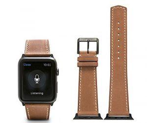 CHIMAERA Remplacement en cuir de veau authentique pour bracelet en cuir Apple montre iWatch & Sport & Edition 38mm 42mm Série 1 & 2 (10 options de couleur)