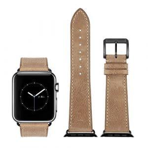 CHIMERA Remplacement en cuir de veau authentique pour bracelet en cuir Apple montre iWatch & Sport & Edition 42mm Série 1 Série 2 Bracelet Boucle classique Super Soft Bracelet de montre (24 options de couleur)