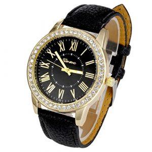 JSDDE Classique Strass Rome Dial Femmes montre-bracelet Quartz Analog Montre (Noir)