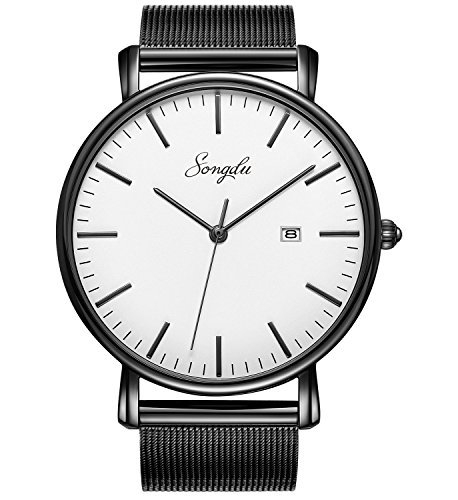 songdu des hommes simple quartz montre en acier inoxydable noir milanais bracelet affaires de. Black Bedroom Furniture Sets. Home Design Ideas