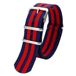 20mm Bande Rayure Nylon Bracelet de Montre Homme Femme Bracelet Remplacement Boucle Wrist Watch Deployante