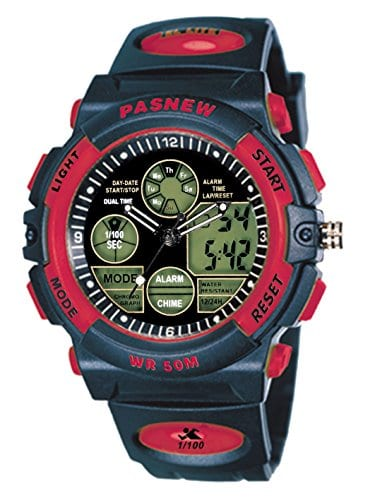 Enfants Garçons Filles Sport Analogique Numérique à double épreuve de l'eau Montres-bracelets Alarme Chronomètre (Red)