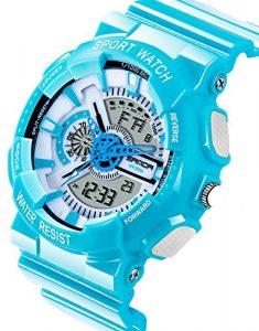 Garçons Montre numérique pour enfant 7–10Analogique à Quartz électronique alarme chronomètre étanche Montres Bleu