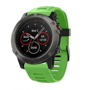 Pour Garmin fenix montre GPS 5x, Cooljun Mode doux Bracelet en silicone de remplacement Bracelet de montre, Green