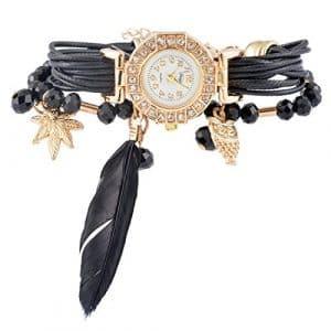 Souarts Femme Montre Bracelet à Quartz Analogique Pendentif Plume Tressé Multirangs Noir 19cm 1Pc
