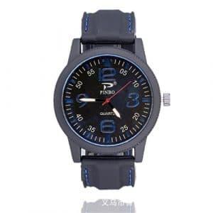 Souarts Homme Montre Bracelet Quartz Analog Cadran Grand Rond Sangle en Silicone Bleu 24cm