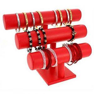 Support montres, porte bracelets ou montres joncs (3 rangs) Simili cuir – Rouge (L) 29 x (H) 21 cm
