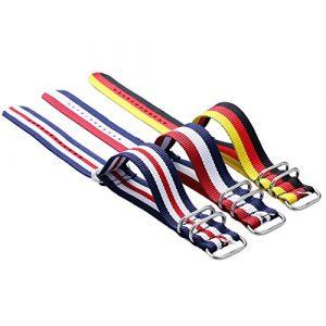 YISUYA Lot de 3bracelets NATO en nylon avec boucle en acier inoxydable Multicolore 20mm
