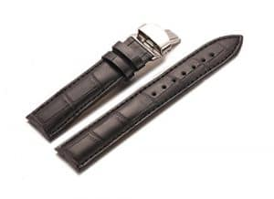 20mm Montre akiy Bandes Longueur standard de rechange watchbands Sangle avec papillon en acier inoxydable Noir