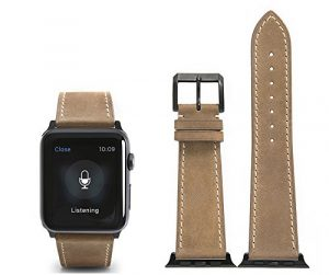 CHIMERA Remplacement en cuir de veau authentique pour bracelet en cuir Apple montre iWatch & Sport & Edition 42mm Série 1 Série 2 Bracelet Boucle classique Super Soft Bracelet de montre (28 options de couleur)