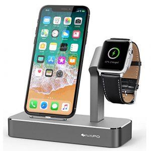 iVAPO 2 en 1 Aluminum Station pour Apple Watch iPhone Support pour Apple Watch Series 3/Apple Watch Series 2/Apple Watch Series 1/Apple Watch Nike+/ iPhone 8 Plus/iPhone 8/iPhone 7 Plus/iPhone 7/iPhone 6s Plus/iPhone 6s/iPhone SE [Gris, Sans Chargeur et Câble ]